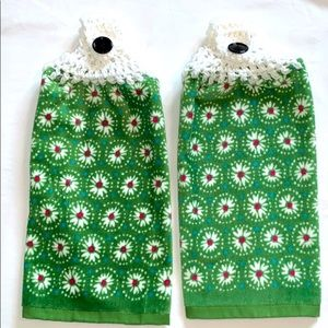 Lot of Two Crocheted Top Hanging Kitchen Towels